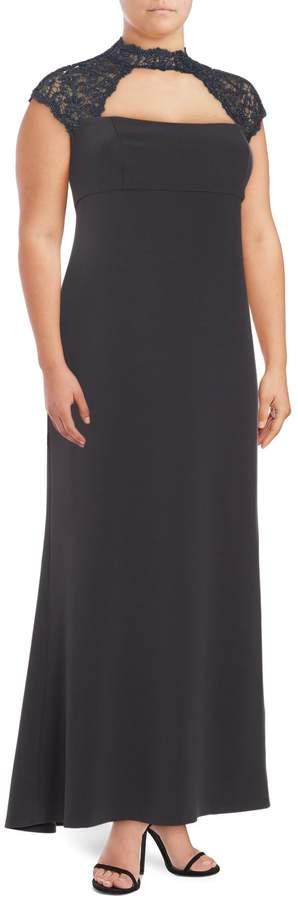 Marina Plus Solid Lace Yoke Dress
