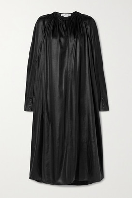 Acne Studios Gathered Satin Midi Dress - Black