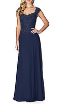 La Femme Scalloped Lace Sweetheart Neckline A Line Gown
