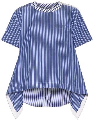 Sacai Striped cotton-blend poplin blouse