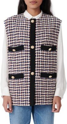 Maje Houndstooth Tweed Vest