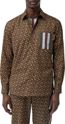 Burberry Men's Chatham TB-Monogram Icon Stripe Sport Shirt