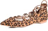 Glamorous Leopard Lace Up Flat Pumps
