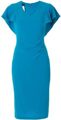 Talbot Runhof fitted flared sleeve dress