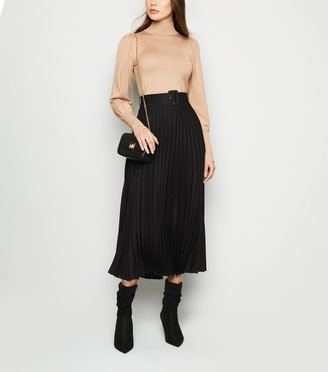 New Look Covered Buckle Pleated Midi Skirt