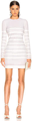Balmain Sequin Stripe Long Sleeve Mini Dress in White & Natural | FWRD