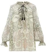 Etro Camilia Ruffled Paisley-print Silk-chiffon Blouse - Womens - White Black