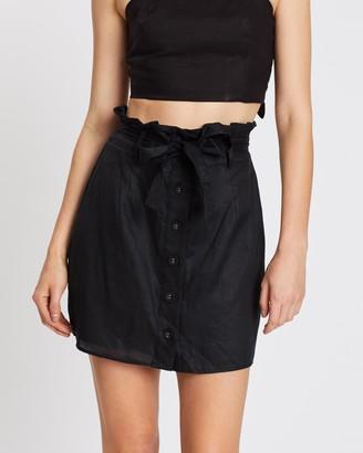 Aere Paperbag Linen Mini Skirt