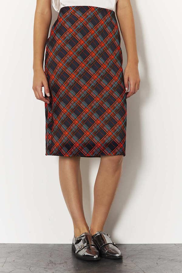 Topshop Check Jacquard Pencil Skirt