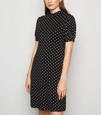 New Look Spot Print High Neck Mini Dress