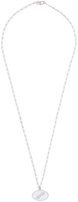 we11done Silver Oval Logo Necklace