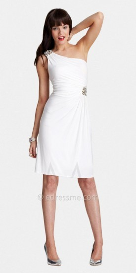 Toga Inspired One-Shouldered Jewel Appique Cocktail Dresses by LM Collection