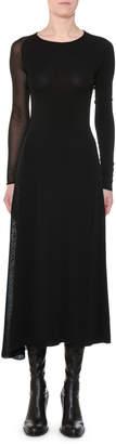 Stella McCartney Round-Neck Long-Sleeve Sheer-Inserts Asymmetric Midi Dress