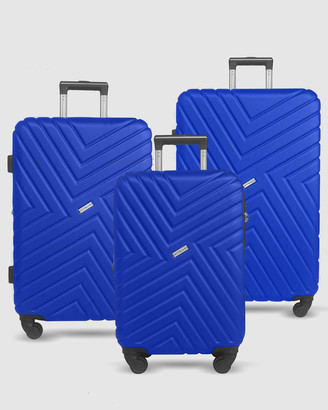 Jett Black Royal Blue Maze Luggage Set
