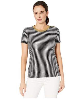 Lauren Ralph Lauren Button Shoulder Striped Tee (Polo Black/Mascarpone Cream) Women's Clothing