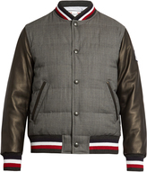 Moncler Gamme Bleu Leather-sleeved quilted-wool bomber jacket