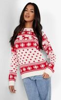 boohoo Hollie Reindeers & Snowflake Christmas Jumper