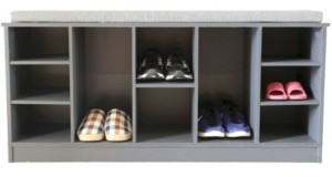 Basicwise Vintiquewise Wooden Shoe Cubicle Storage Entryway Bench with Soft Cushion For Seating