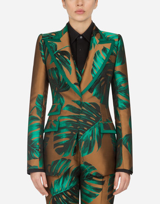 Dolce & Gabbana Single-Breasted Jacket In Lame Philodendron Jacquard