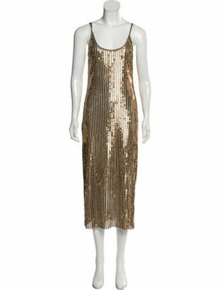 Tanya Taylor Scoop Neck Midi Length Dress Gold