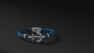 David Yurman Maritime Anchor Bracelet With Blue Sapphires