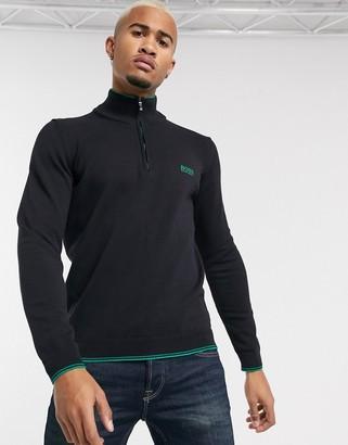 BOSS Athleisure Zimex half zip cotton blend jumper in black