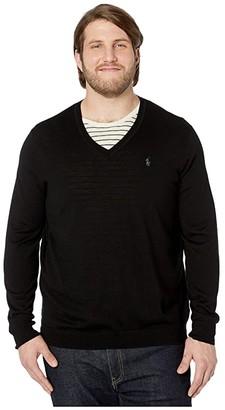 Polo Ralph Lauren Big & Tall Washable Merino Wool V-Neck Sweater (Polo Black) Men's Clothing