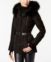 MICHAEL Michael Kors Active Faux-Fur-Trim Belted Puffer Coat