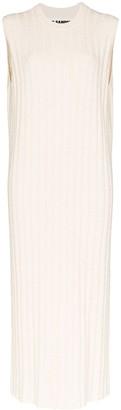 Jil Sander Sleeveless Ribbed Stretch-Knit Maxi Dress
