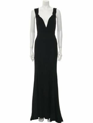 Reformation V-Neck Long Dress Black