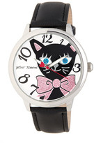 Betsey Johnson Women's Cat Faux Leather Watch
