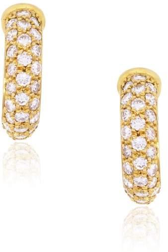 Cartier 18K Yellow Gold and Diamond Huggie Earrings