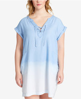 Jessica Simpson Trendy Plus Size Samantha Cotton Chambray Shift Dress