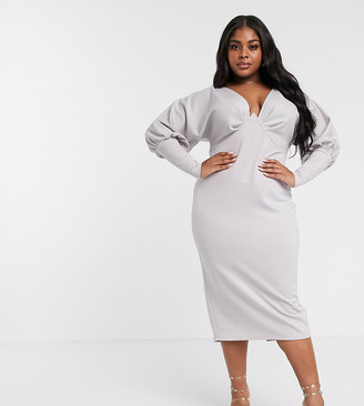 Asos DESIGN Curve minimal v wire long blouson sleeve midi dress