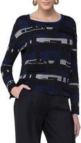 Akris Punto Fringed Jacquard Sweater, Blue Pattern