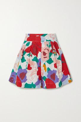 Faithfull The Brand Ondine Floral-print Linen Shorts - Red