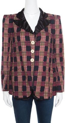 Sonia Rykiel Multicolor Checked Printed Cotton and Linen Contrast Collar Blazer M