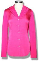 Vince Camuto Mixed Media Button Blouse Pink