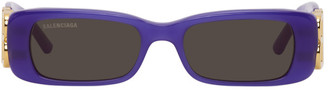 Balenciaga Purple Rectangular Sunglasses