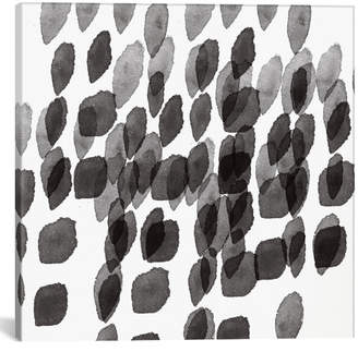 iCanvas icanvasart Black And White Drops Pattern By Linda Woods Canvas Print