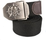 Aubig Fashion Casual Canvas Belt Men's Work Wear Skull Metal Buckle Belt