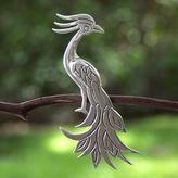 Sterling silver brooch pin, 'Quetzal'