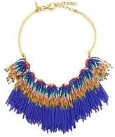 Lele Sadoughi Striped Beaded Fringe Bib Necklace