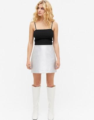 Monki Lucy glitter mini skirt in silver
