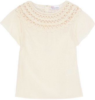 RED Valentino Point D'esprit-trimmed Appliqued Crepe De Chine Top