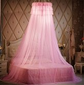 Round Hoop Decorative Lace Princess Crib Twin Full Queen Size Bed Canopy Mosquito Net Yellow (Pink)
