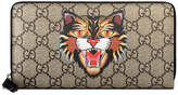 Gucci Angry Cat print GG Supreme zip around wallet