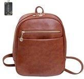 Donalworld Woen PU Leather Preppy School Bag Vintage Shoulder Backpack