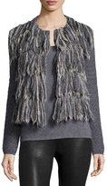 Tess Giberson for Neiman Marcus Cashmere Collection Long-Sleeve Fringe-Front Jacket