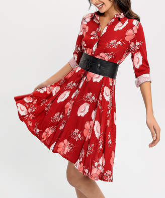 New Laviva Women's Casual Dresses Burgundy - Red & White Floral Belted Shirt Dress - Women
